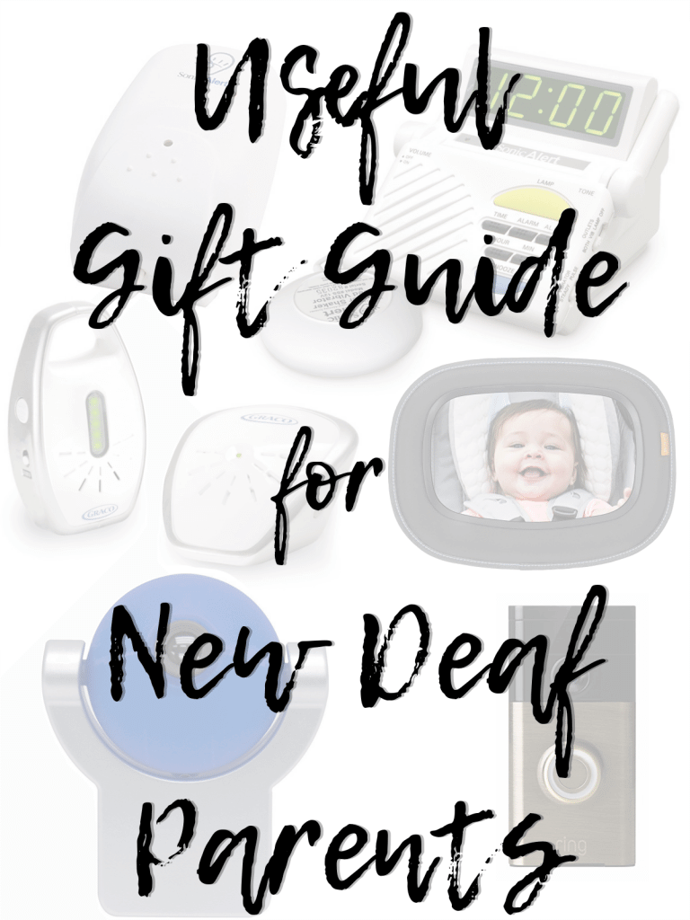 Useful Gift Guide for New Deaf Parents from a simple rear facing mirror to a vibrating alarm clock. #deafparents #deaf #deafness