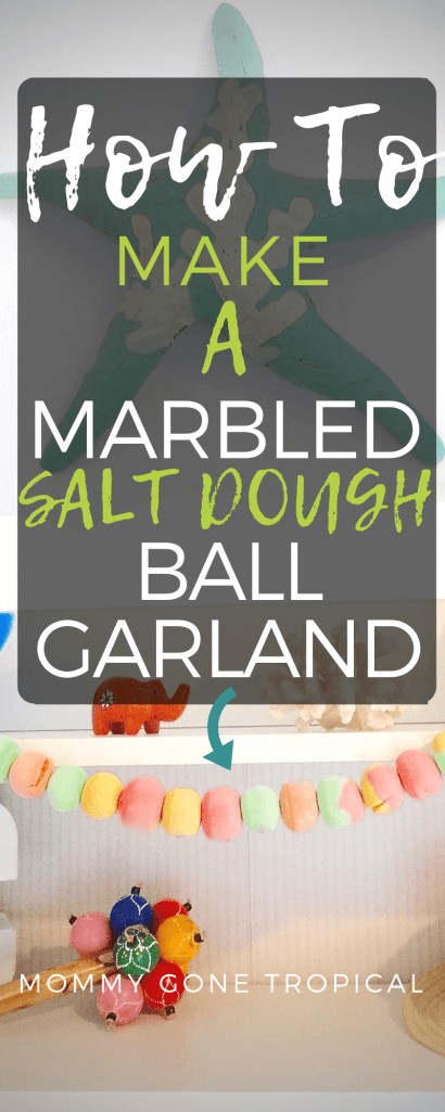 How to make a marbled salt dough ball garland with just FOUR ingredients! #saltdough #garland #salt #dough #diy #diytutorial #howto