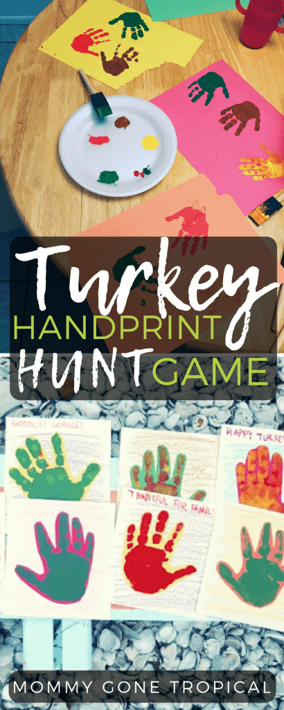 Turkey Handprint Hunt Game with kids' handprints #handprint #turkeyhandprint #thanksgiving