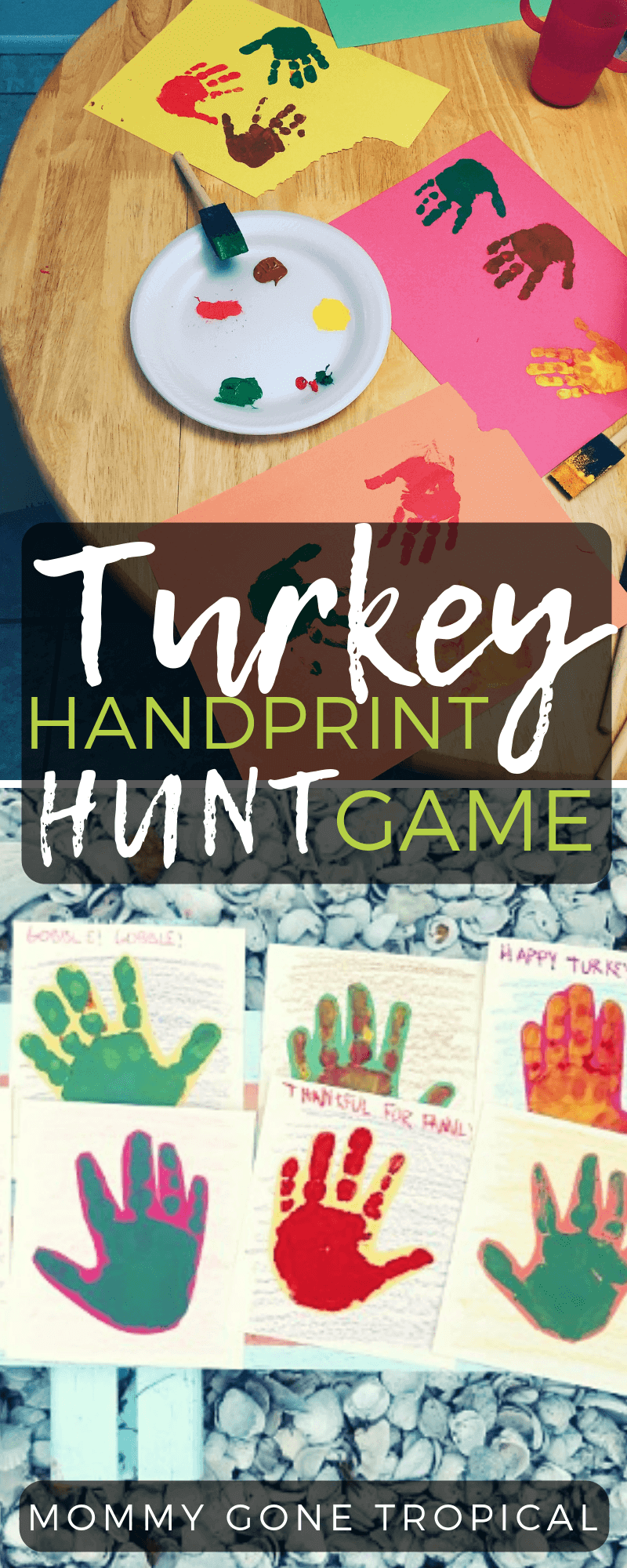 Turkey Handprint Hunt Game with kids' handprints #handprintgames #thanksgivinggames